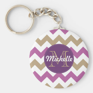 Chevron Orchid Champagne Monogram Circle Stitches Keychain