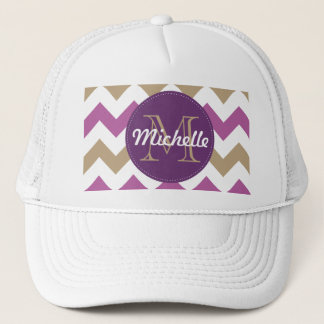 Chevron Orchid Champagne Monogram Circle Stitches Trucker Hat