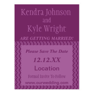 Chevron Orchid Modern Save The Date Post Card