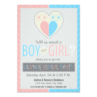 Chevron Owl Baby Gender Reveal Party Invitation