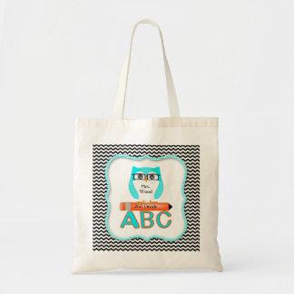 Chevron Owl Teacher Bag