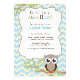 Chevron Owl Themed Baby Shower Invitations - Boy