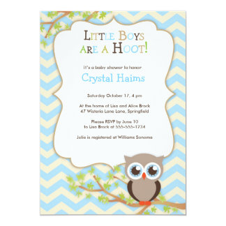 Chevron Owl Themed Baby Shower Invitations - Boy