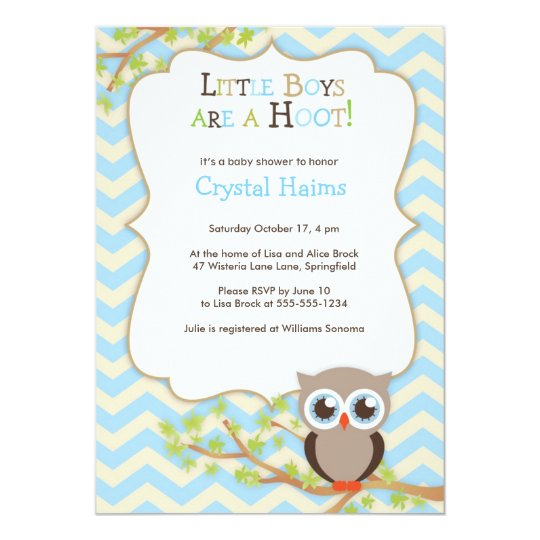 Chevron Owl Themed Baby Shower Invitations Boy Zazzlecom