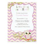 Chevron Owl Themed Baby Shower Invitations - Girl