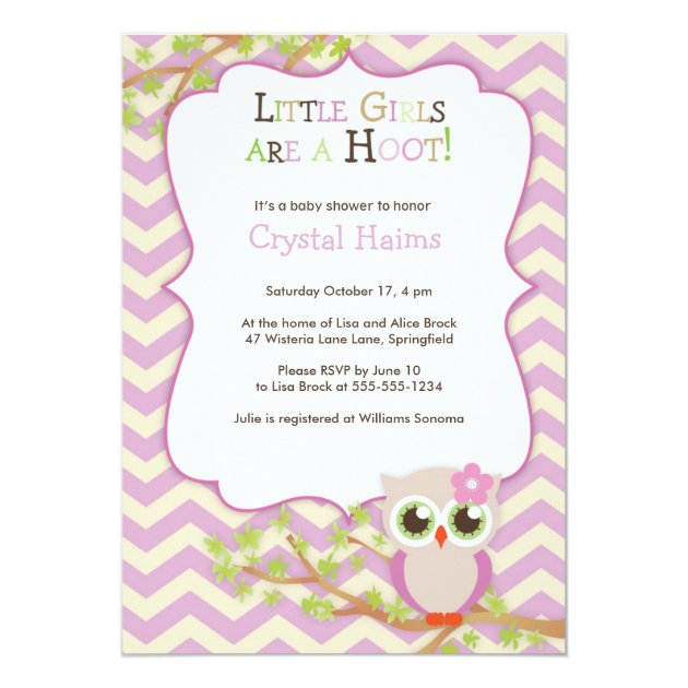 Chevron Owl Themed Baby Shower Invitations