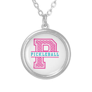 Chevron P is for Pickleball Silver Plated Necklace