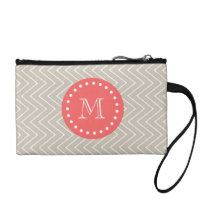 Chevron Pattern 2A Monogram Beige Coral Change Purse