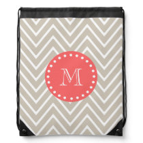 Chevron Pattern 2A Monogram Beige Coral Drawstring Backpack