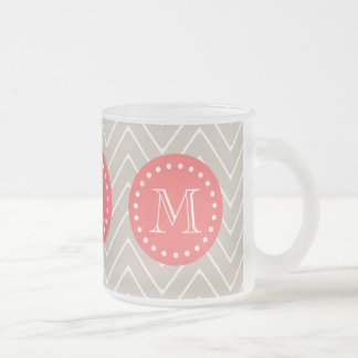 Chevron Pattern 2A Monogram Beige Coral Frosted Glass Coffee Mug
