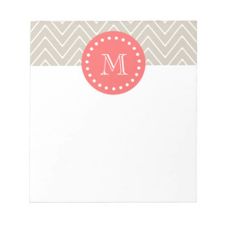 Chevron Pattern 2A Monogram Beige Coral Memo Note Pads