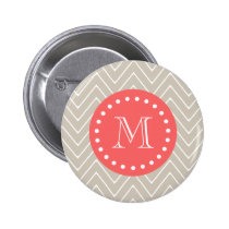 Chevron Pattern 2A Monogram Beige Coral Pinback Button