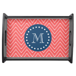 Chevron Pattern 2A Monogram Coral, Navy Blue Serving Tray