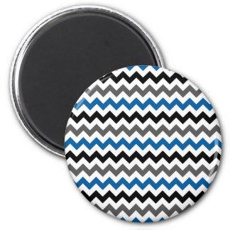 Chevron Pattern Background Blue Gray Black White 2 Inch Round Magnet