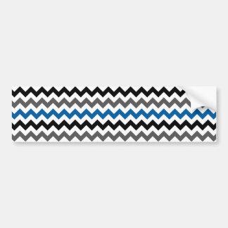 Chevron Pattern Background Blue Gray Black White Bumper Sticker