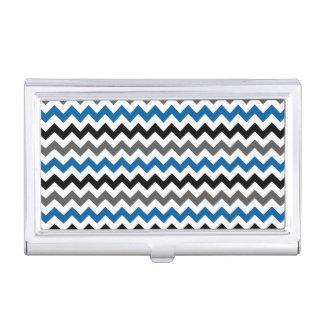 Chevron Pattern Background Blue Gray Black White Business Card Holder