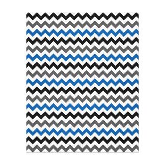 Chevron Pattern Background Blue Gray Black White Canvas Print