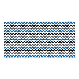 Chevron Pattern Background Blue Gray Black White Card