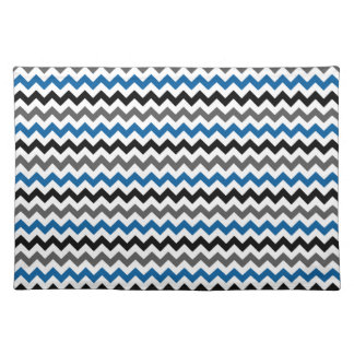 Chevron Pattern Background Blue Gray Black White Cloth Placemat