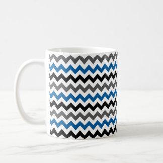 Chevron Pattern Background Blue Gray Black White Coffee Mug