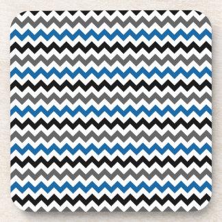 Chevron Pattern Background Blue Gray Black White Beverage Coasters
