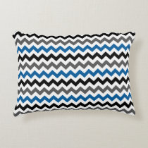Chevron Pattern Background Blue Gray Black White Decorative Pillow