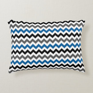 Chevron Pattern Background Blue Gray Black White Decorative Pillow