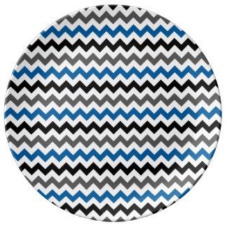 Chevron Pattern Background Blue Gray Black White Dinner Plate