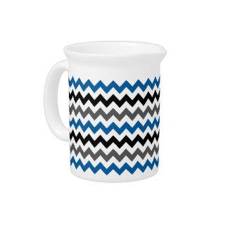 Chevron Pattern Background Blue Gray Black White Drink Pitcher