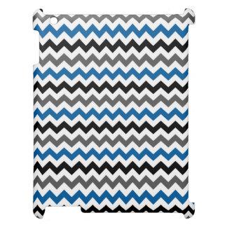 Chevron Pattern Background Blue Gray Black White iPad Case