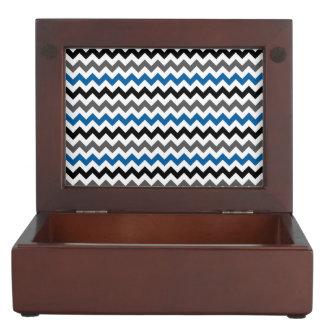 Chevron Pattern Background Blue Gray Black White Keepsake Box