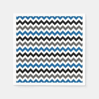Chevron Pattern Background Blue Gray Black White Standard Cocktail Napkin