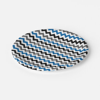 Chevron Pattern Background Blue Gray Black White Paper Plate