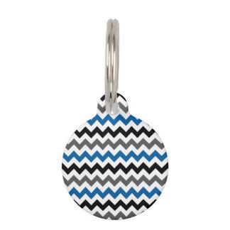 Chevron Pattern Background Blue Gray Black White Pet ID Tag