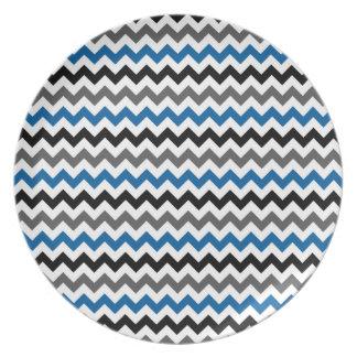 Chevron Pattern Background Blue Gray Black White Plate