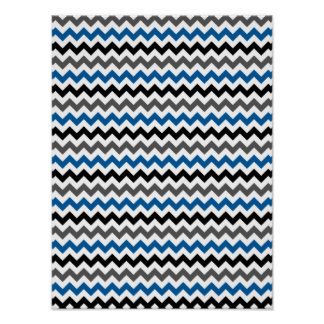 Chevron Pattern Background Blue Gray Black White Poster
