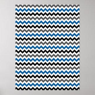 Chevron Pattern Background Blue Gray Black White Poster