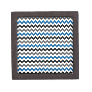 Chevron Pattern Background Blue Gray Black White Premium Keepsake Box