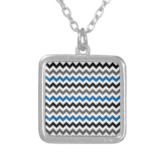 Chevron Pattern Background Blue Gray Black White Silver Plated Necklace