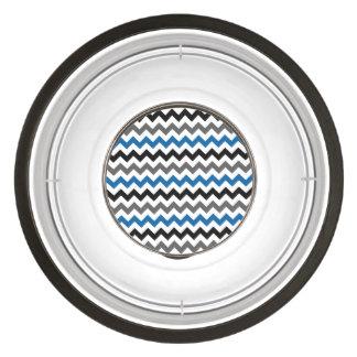 Chevron Pattern Background Blue Gray Black White Pet Bowl