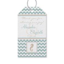 Chevron Pattern Beach Wedding Guest Favor Gift Tags