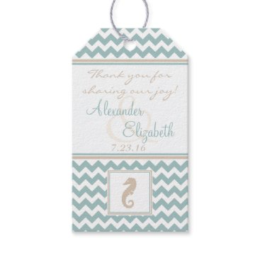 Beach Themed Chevron Pattern Beach Wedding Guest Favor Gift Tags