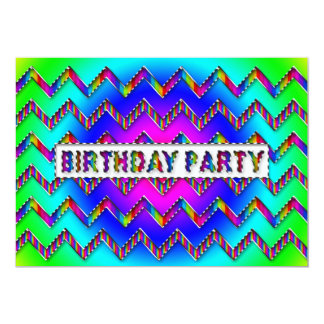 Chevron Pattern Birthday Party Invitation - Colors