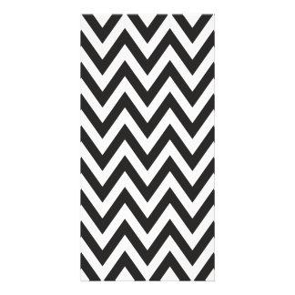 Chevron Pattern Black White Geometric Art Designs Photo Card Template