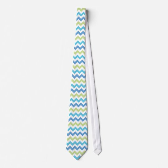 Chevron Pattern | Blue & Green Tie