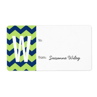 Chevron pattern blue green to from holiday gift label