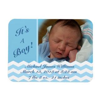 Chevron Pattern Boy Birth Announcement Magnet