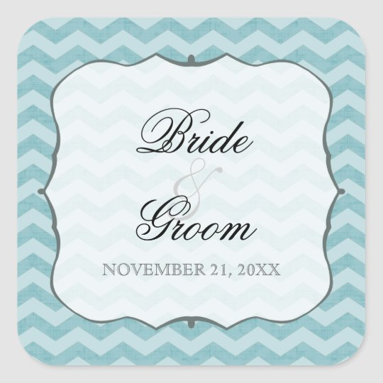 Chevron Pattern Bracket Frame Teal Favor Gift Tags
