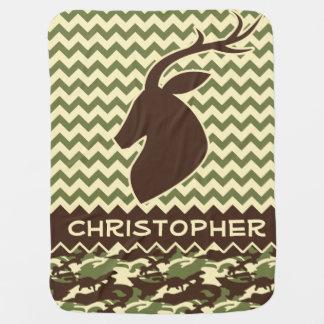 Chevron Pattern Buck Camouflage Monogram Receiving Blanket