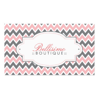 Chevron Pattern Business Card (pink/grey)